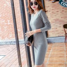 Korea perempuan bagian panjang lengan panjang katun rok Autumn baru gaun (Abu-abu)