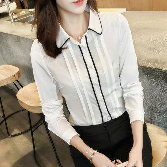 Gambar Korea perempuan lengan panjang Slim baru liar bottoming kemeja kemeja putih (Putih)