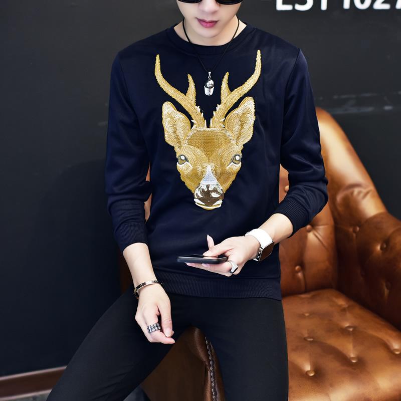 Korea Slim dicetak leher bulat lengan panjang t-shirt pria t-shirt (Biru