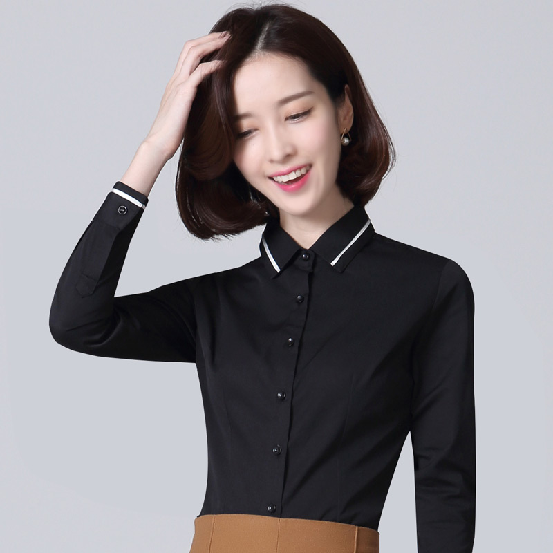 Korean solid color female Professional clothes white shirt (Hitam (slim tipis))