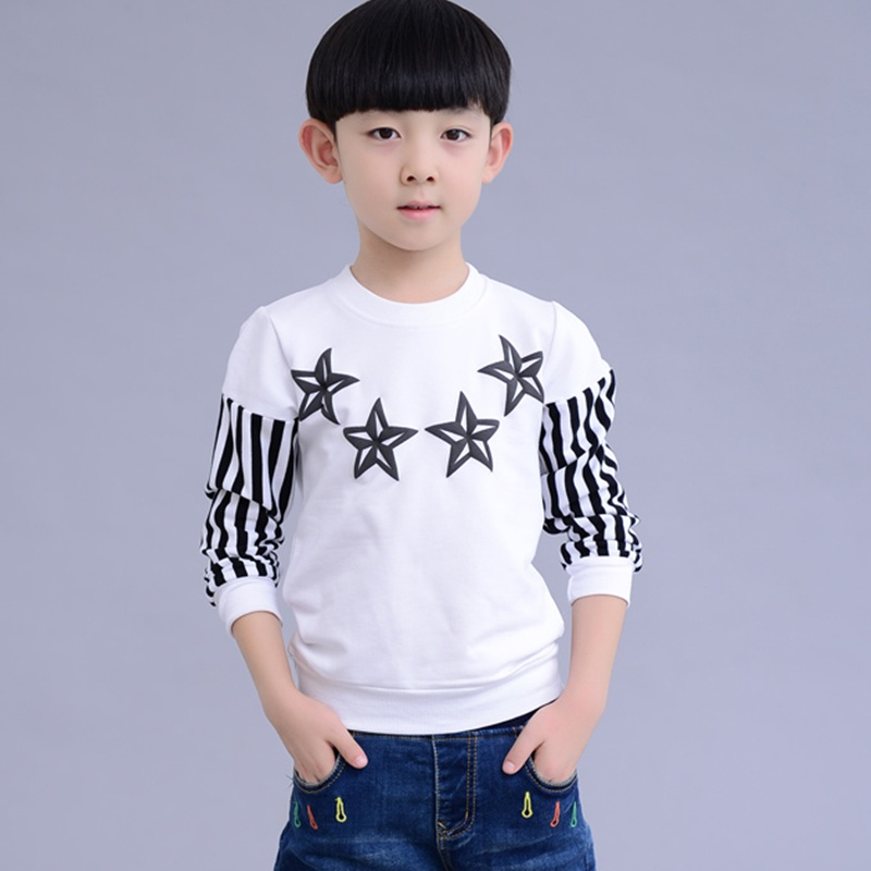 Korean-style children Top Spring and Autumn T-shirt (Putih)