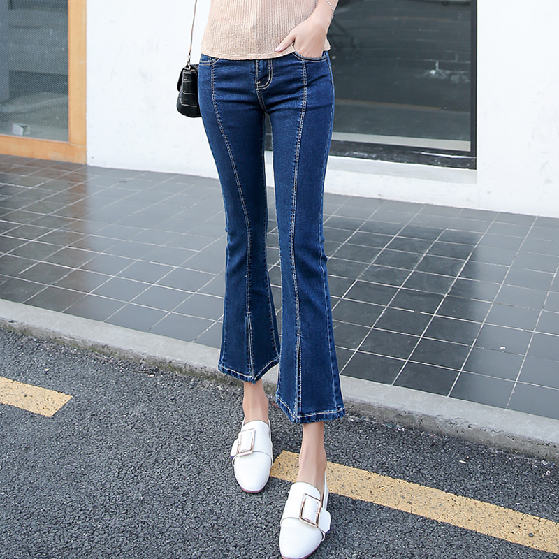 Korean-style female autumn New style ankle-length pants cowboy speaker pants (Biru
