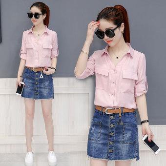 Korean-style female New style elegant casual Top long-sleeved shirt (Merah muda
