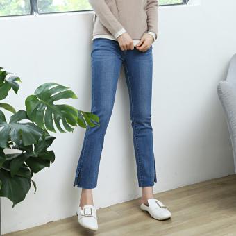 Harga Termurah Korean-style female Slim fit stretch pantyhose raw-cut jeans (Di