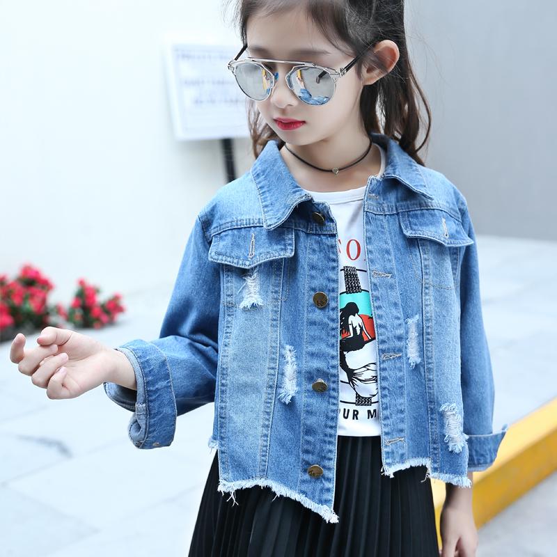 Korean-style New style children's Top girls cowboy coat (Biru)