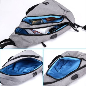 Korean Style Premium Shoulder Bag With External USB Port Phone Charger Travel Holder (Black) - intl - 4