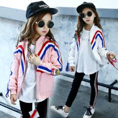Korean-style ribbon autumn New style jacket girls jacket (Merah muda)