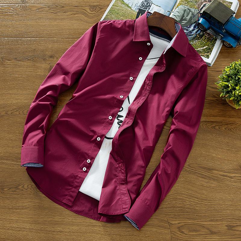Korean-style solid men's Teenager versatile shirt long-sleeved shirt (1669 anggur merah