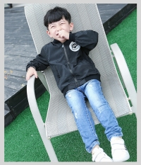 Korean-style Spring and Autumn children's baseball clothes Top jacket (Hitam)