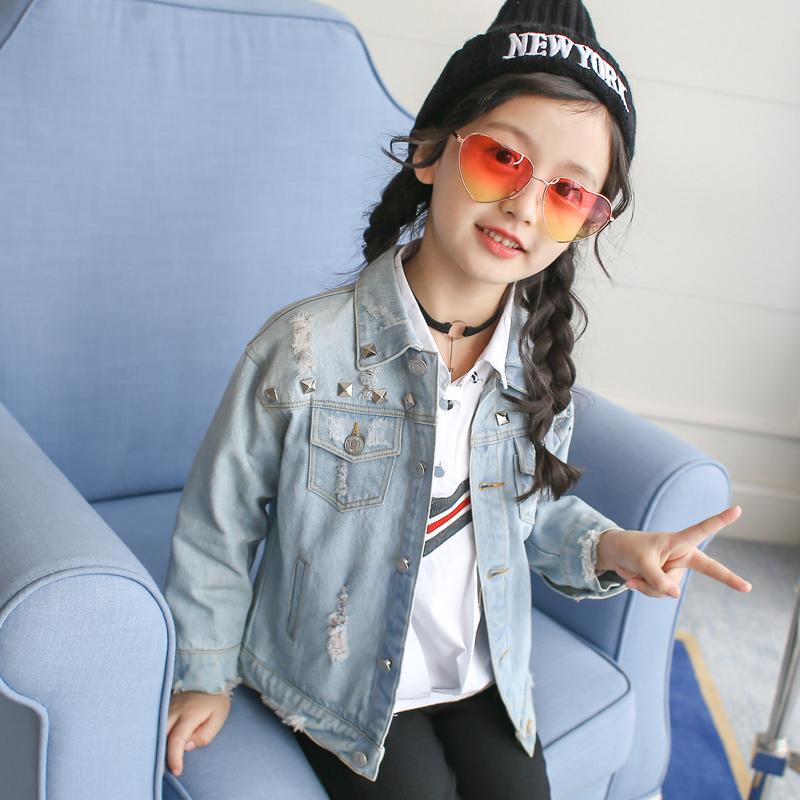 ... Korean style spring New style children s cowboy female Top girls jacket Cahaya biru