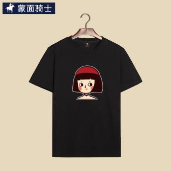 Gambar Ksatria katun yang longgar lengan pendek t shirt versi Korea dari lengan pendek t shirt