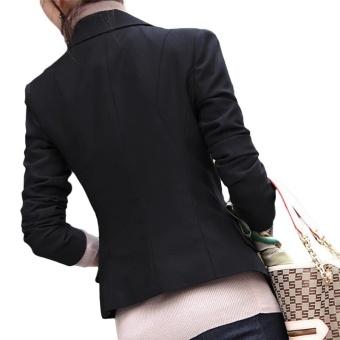 Kuhong wanita Slim penuh lengan kecil Setelan Lapel kerah kantor jaket - 3
