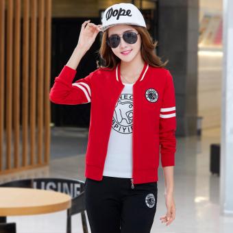 Beli La Lee Korea Fashion Style Inggris musim semi dan musim gugur olahraga  untuk pria dan wanita (Merah perempuan) Murah 05533c4aff