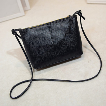 La Vie PU Kulit Tas Kurir Mini Crossbody Bag (Hitam)