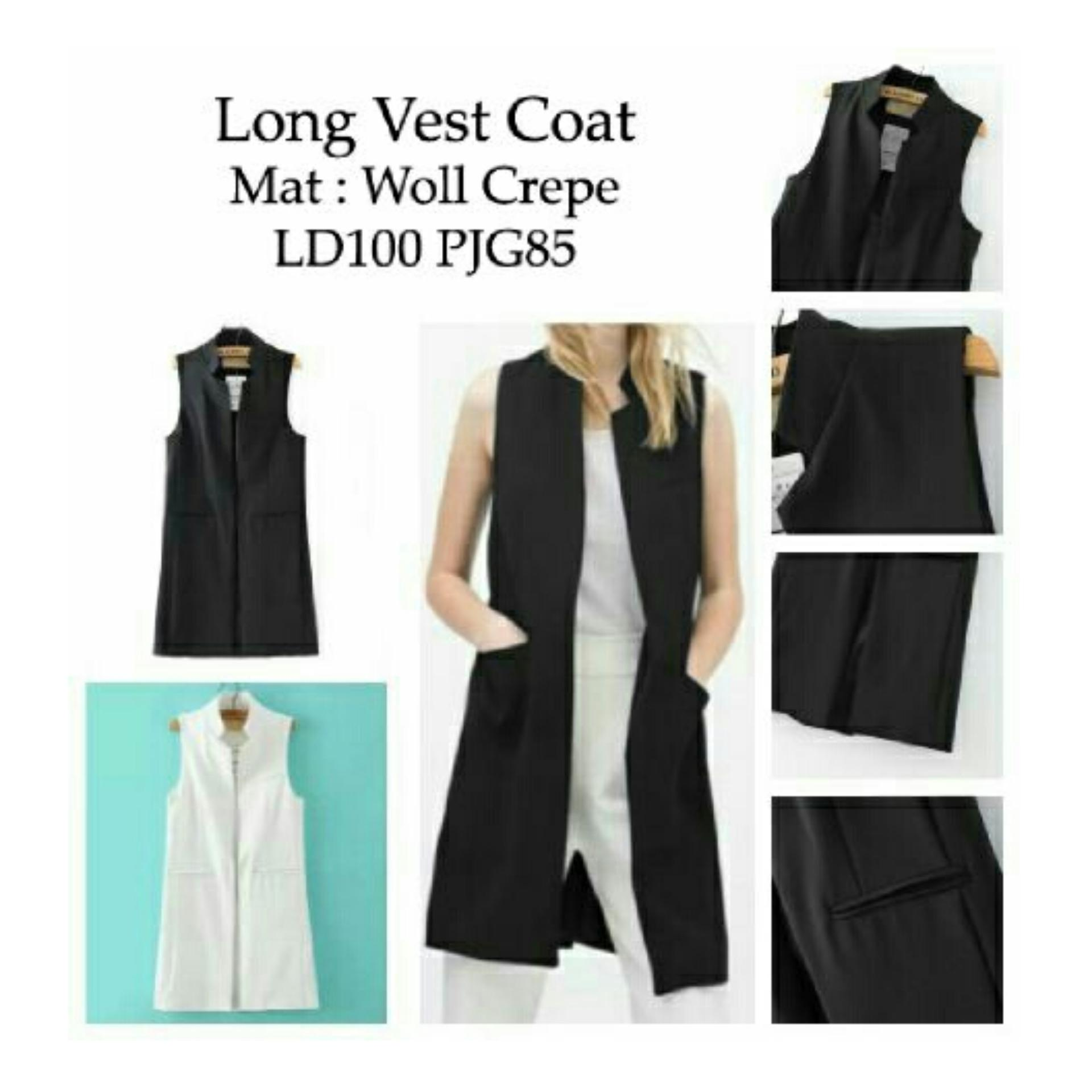 Flash Sale Ladies Fashion Blazer Panjang Wanita Vest Ignacia / Cardingan / Long Vest Coat / Jaket Rompi Wanita NR - Hitam - korea