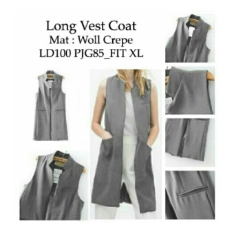 harga Ladies Fashion Blazer Panjang Wanita Vest Ignacia / Cardingan / Long Vest Coat / Outwear terusan wanita NR - Abu Abu - korea Lazada.co.id