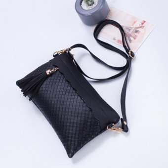 Lady Women Heart PU Leather Satchel Messenger Shoulder Bag CrossBody Handbag Black - Intl