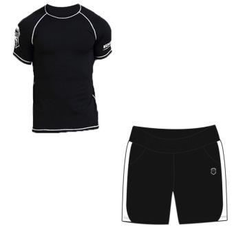 Laki-laki cepat kering pakaian pria lengan pendek berjalan pakaian (6905 hitam lengan pendek + 902 hitam dan putih celana pendek)