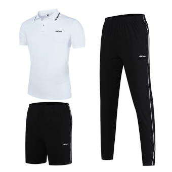 Jual Laki-laki Musim Panas Kapas Celana Panjang Lengan Pendek Kebugaran Pakaian (Tiga potong (putih + hitam celana panjang + celana pendek)) (Tiga potong ...