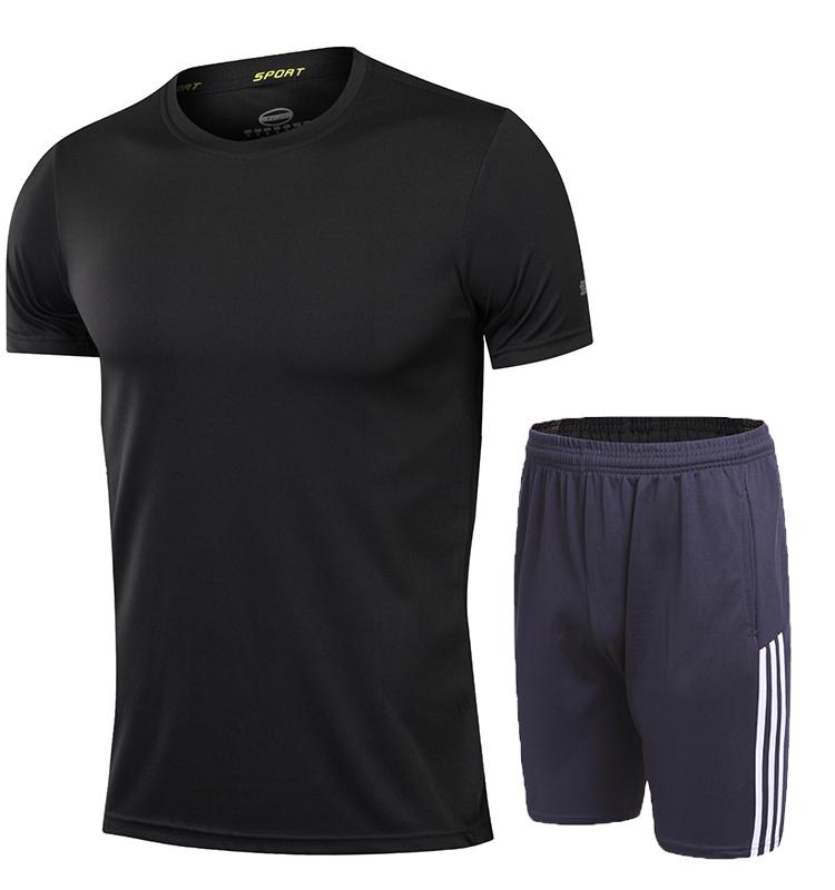 Laki-laki musim panas kebugaran joging bulu tangkis pakaian (5015 abu-abu dan