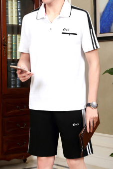 Beli Laki-laki musim panas lengan pendek celana pendek kebugaran pakaian (Putih + warna) Murah