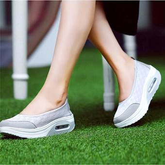 Gambar LALANG gaya baru Fashion wanita sepatu fitnes kasual (abu abu) International