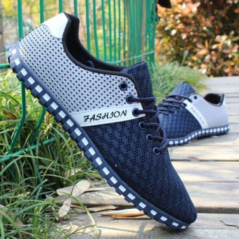 LALANG Men Fashion Breathable Mesh Flat Shoes Exercise Jogging Men Shoes (Dark Blue) - intl
