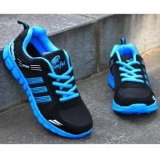 LALANG orang kolam olahraga joging lari santai sejuk jala sepatu Sneakers pelatih dipotong rendah sepatu datar (biru)- International
