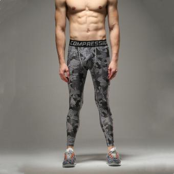 LALANG orang olahraga kamuflase kisi tinggi elastis celana Jogger (hitam & putih) - International