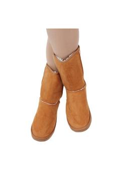 LALANG sepatu boots salju sol karet musim dingin hangat wanita cantik kasual flat - unta - 3