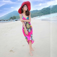 LALANG Wanita Deep V Wrap Chiffon Swimwear Bikini Cover Up Pantai Pakaian (Hotpink)