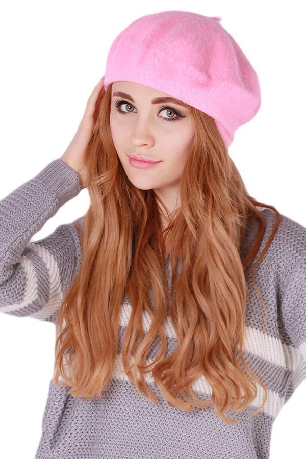 LALANG Women Beret Cap Vintage Solid Color Beanie Hat ClassicBerets Pink .