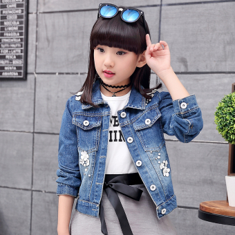 Harga Terendah Large Korean-style cotton Spring and Autumn children's short Top girls cowboy coat
