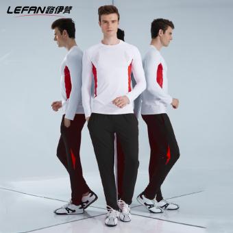 Lefan elastis yang tinggi laki-laki kebugaran room kebugaran pakaian baru Kebugaran Pakaian (5550/5752 putih dan merah pakaian + hitam dan merah celana)