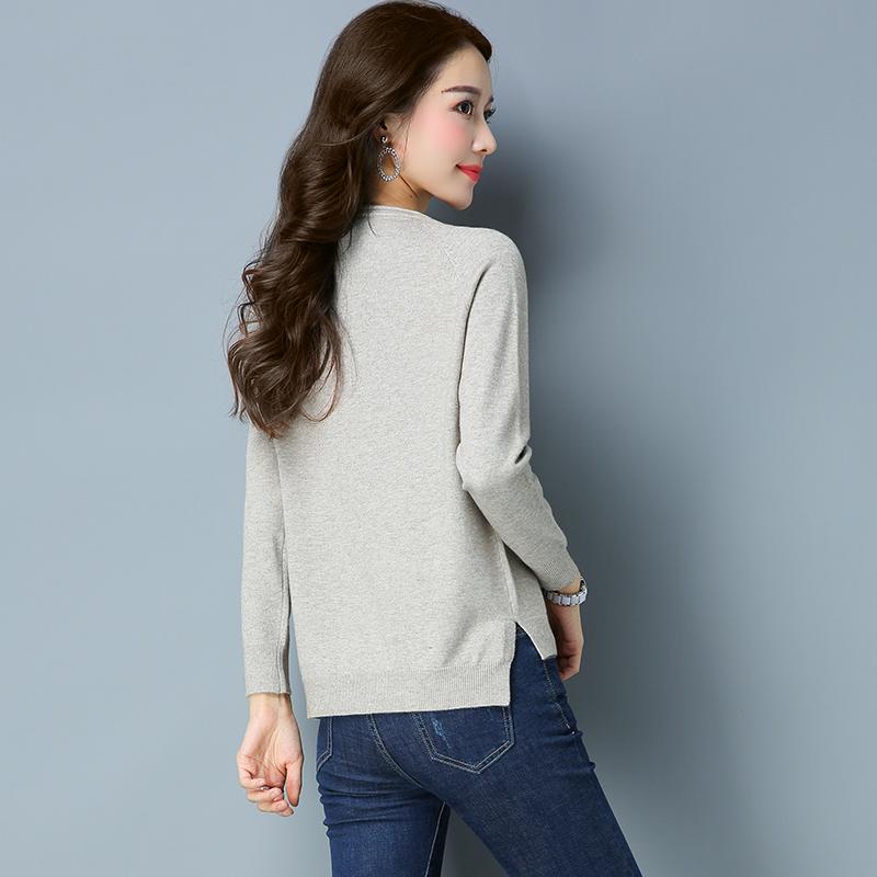 Cheap online leher bulat merajut pullover bottoming kemeja LOOESN merajut kemeja (DXZH7120 dangkal retak)