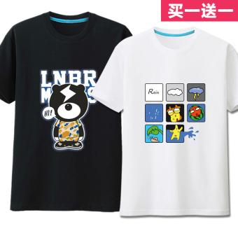 Gambar Lengan pendek t shirt pria ukuran besar t shirt (Petir beruang hitam + kotak
