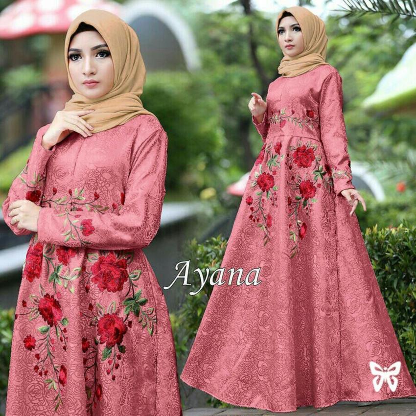 LF Dress Gamis Remaja Muslimah Muslimah Iyana/ Set Terusan Maxi Hijab Syar'i/ Syari Simple Elegant / Baju Muslim Wanita / Kebaya Modern Baloteli Tanpa .
