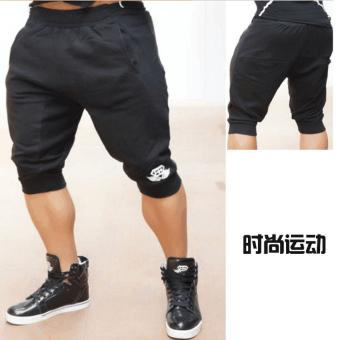 Harga LF kasual otot pria kebugaran lima celana musim panas kebugaran celana pendek (Hitam) Murah
