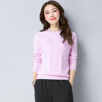 Harga Penawaran Lindung nilai lengan panjang leher bulat Slim bottoming kemeja Korea Fashion Style sweater (