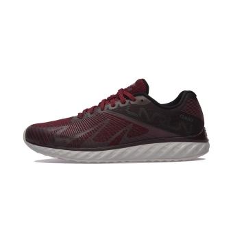 LINING arhm055 redaman satu sepatu lari sepatu pria sepatu olahraga (Jiang Zi Hong/anggur Hong/standar hitam/mikrokristalin abu-abu)