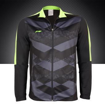 LINING ritsleting dewasa pelatihan pakaian pakaian sepak bola (Hitam)
