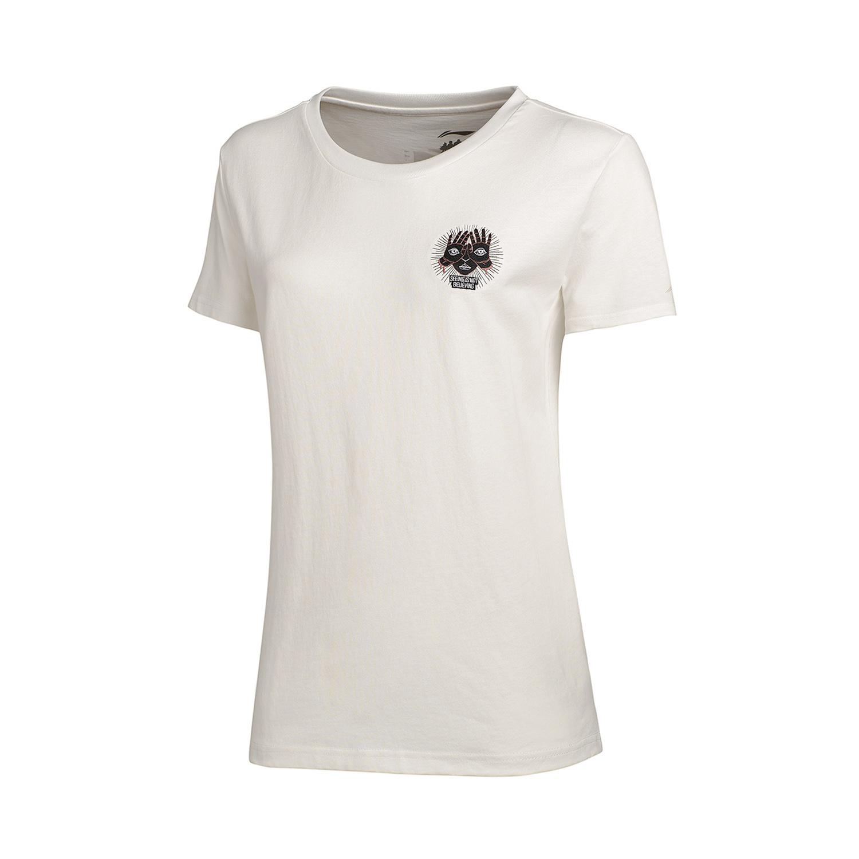 LINING Wanita Baru Bola Basket Seri Olahraga Kapas Olahraga T-shirt (Putih  susu) 0d7debf002