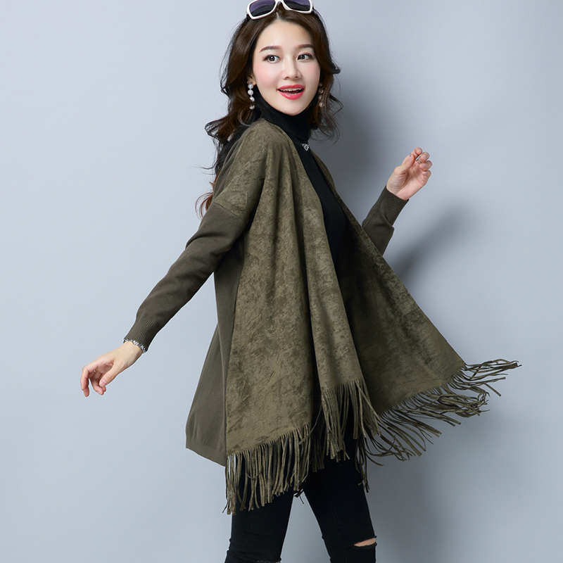 Flash Sale Lisha Korea Fashion Style wanita ukuran besar merajut kardigan sweater (Hijau tentara)