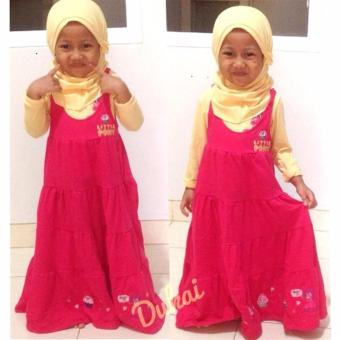 Little Pineapple 3in1 Gamis Hijab Overall Dress Little Pony Pinky3-8Y - 2