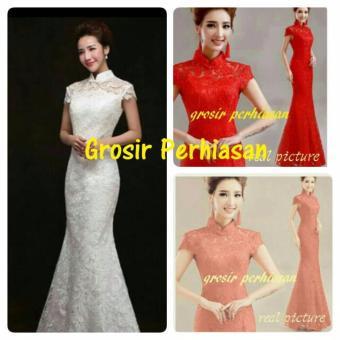 harga long dress merah / gaun pesta red / imlek shanghai / FULL BROKATBAGUS TERLARIS Lazada.co.id