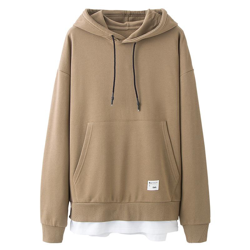 Longgar Gaya Jepang Tambah Beludru Musim Gugur Laki-laki Berkerudung Kaos Sweater (Khaki)