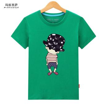 Longgar Korea Fashion Style Dicetak Leher Bulat Lengan Pendek Kemeja T-shirt (Topi topi