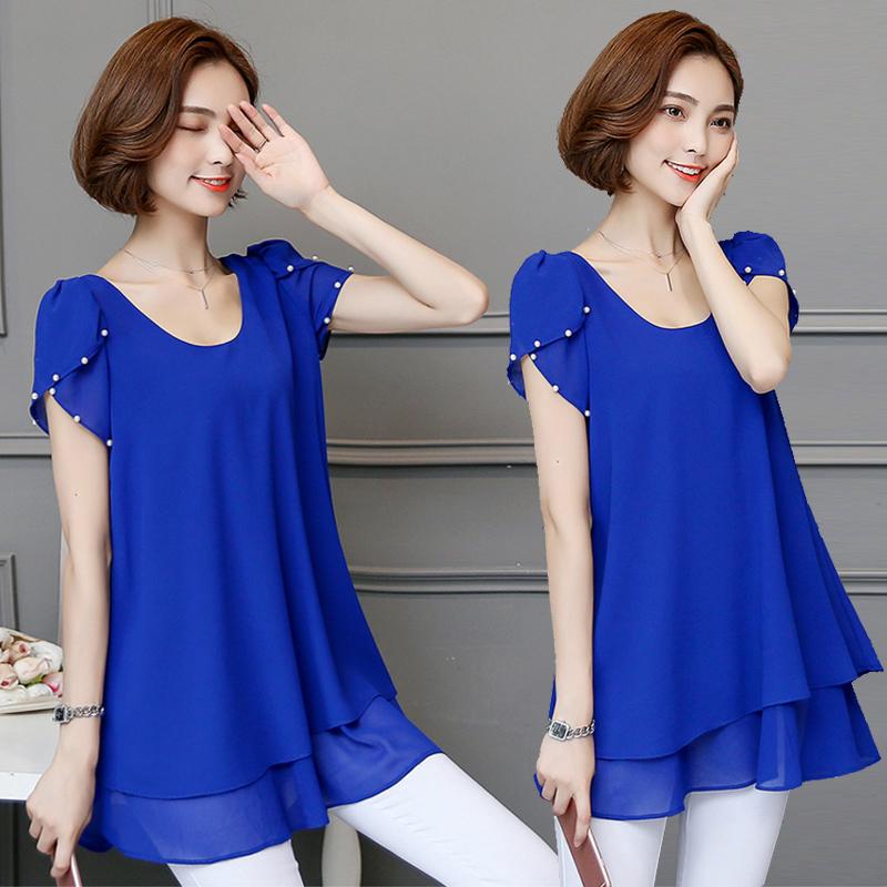Flash Sale Longgar Korea Fashion Style lengan pendek perempuan dan bagian panjang kemeja kemeja sifon (