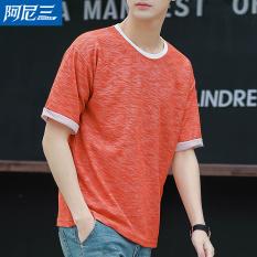 Longgar Korea Fashion Style pria siswa sekolah menengah anak laki-laki lengan kelima t-