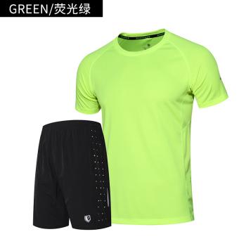 Harga Longgar Luar Ruangan Lari Pria Bernapas T-shirt (211 neon kemeja hijau + 271 celana pendek) (211 neon kemeja hijau + 271 celana pendek) Murah